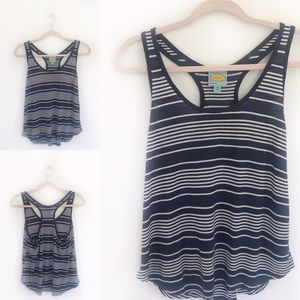 C&C California Blue & White Stripe Racerback Tank